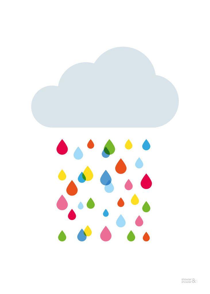 Multicoloured Rain Cloud Print | Kids Multicoloured Rain Cloud Poster | Children's Wall Art | Showler & Showler