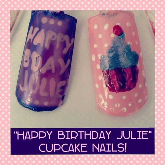 """I can't say """"Happy Birthday"""" enough!! Made a cupcake nail design for @Julie Nyenkamp 's birthday today :) ♥"""