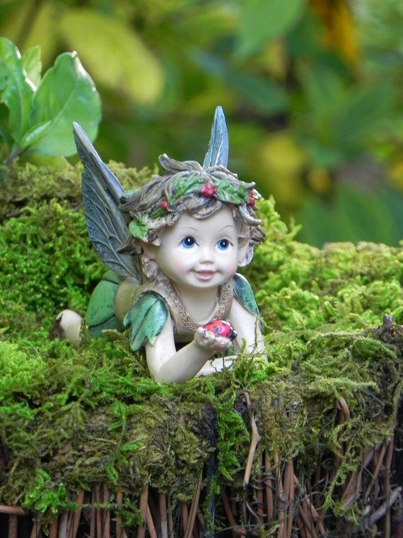 Fairy Garden Fairy Figurine With Ladybug, Laying Down Fairies, Fairy  Furniture Accessories, Miniatur