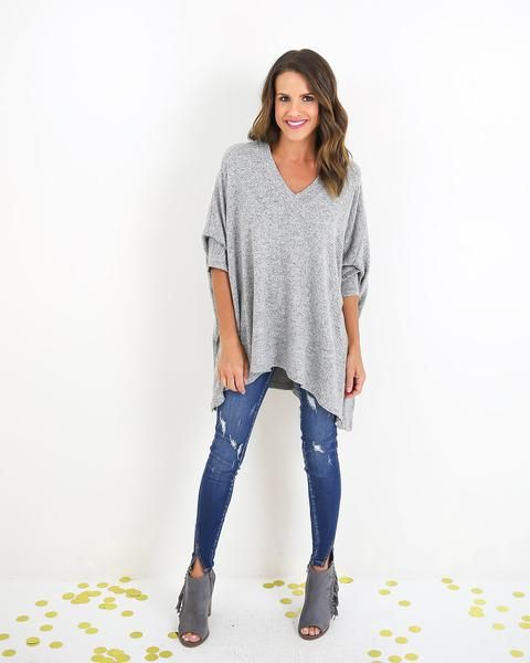 Jaqui Dolman Sleeve Knit Top - Heather Grey