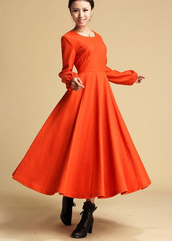 wool Maxi dress orange long dress Long sleeve dress by xiaolizi ...