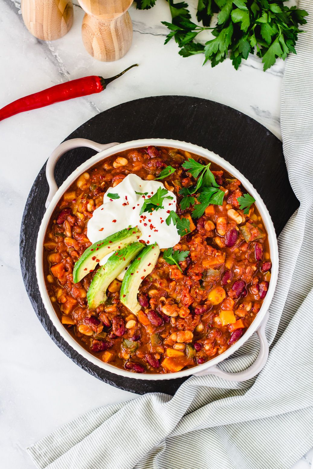 Veganes Süßkartoffel-Chili #sweetpotatorecipes