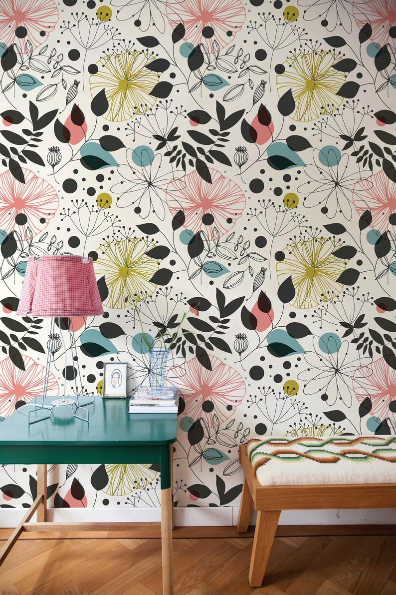 Removable Wallpaper Peel And Stick Wallpaper Wall Paper Wall Etsy Wall Wallpaper Vintage Floral Wallpapers Removable Wallpaper