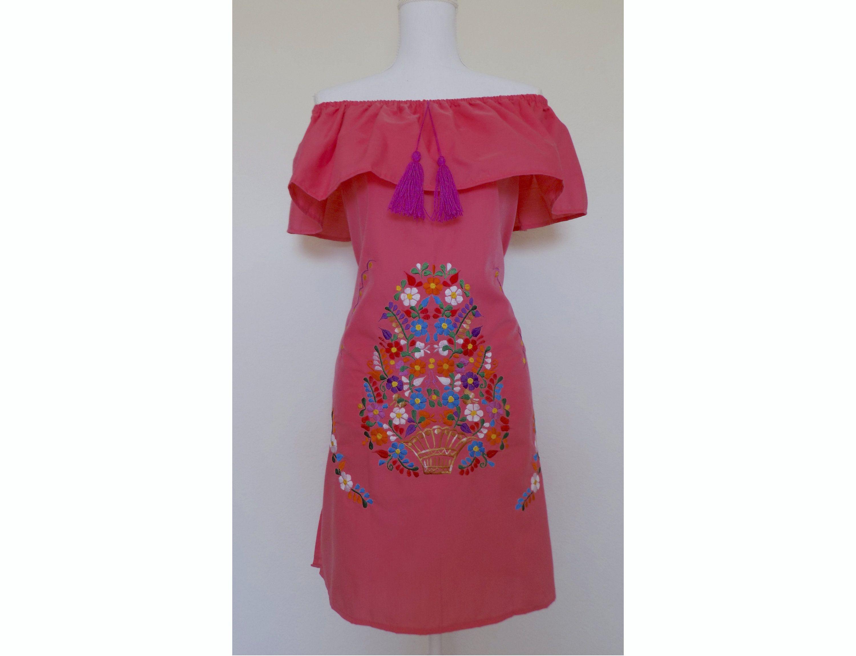 2d0390ad86 Off the Shoulder Mexican Dress - Mexican Peasant Dress - Coral Pink  Sundress - Mexican Dress - Mexican Wedding - Mexican Bridesmaid Dress