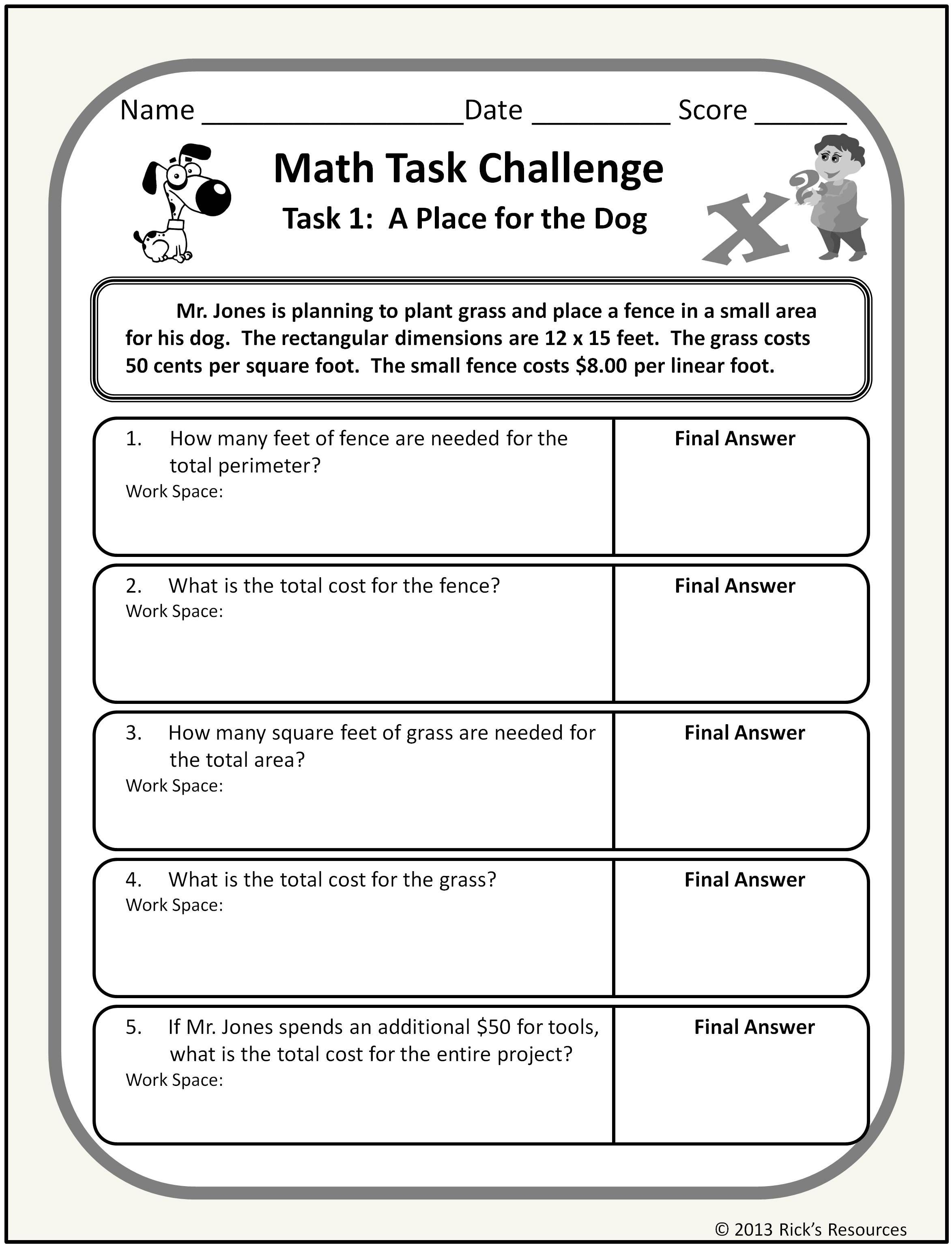 Math Word Problem Challenges Worksheets