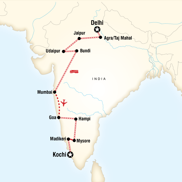 Map Of The Route For Delhi To Kochi By Rail India Pinterest