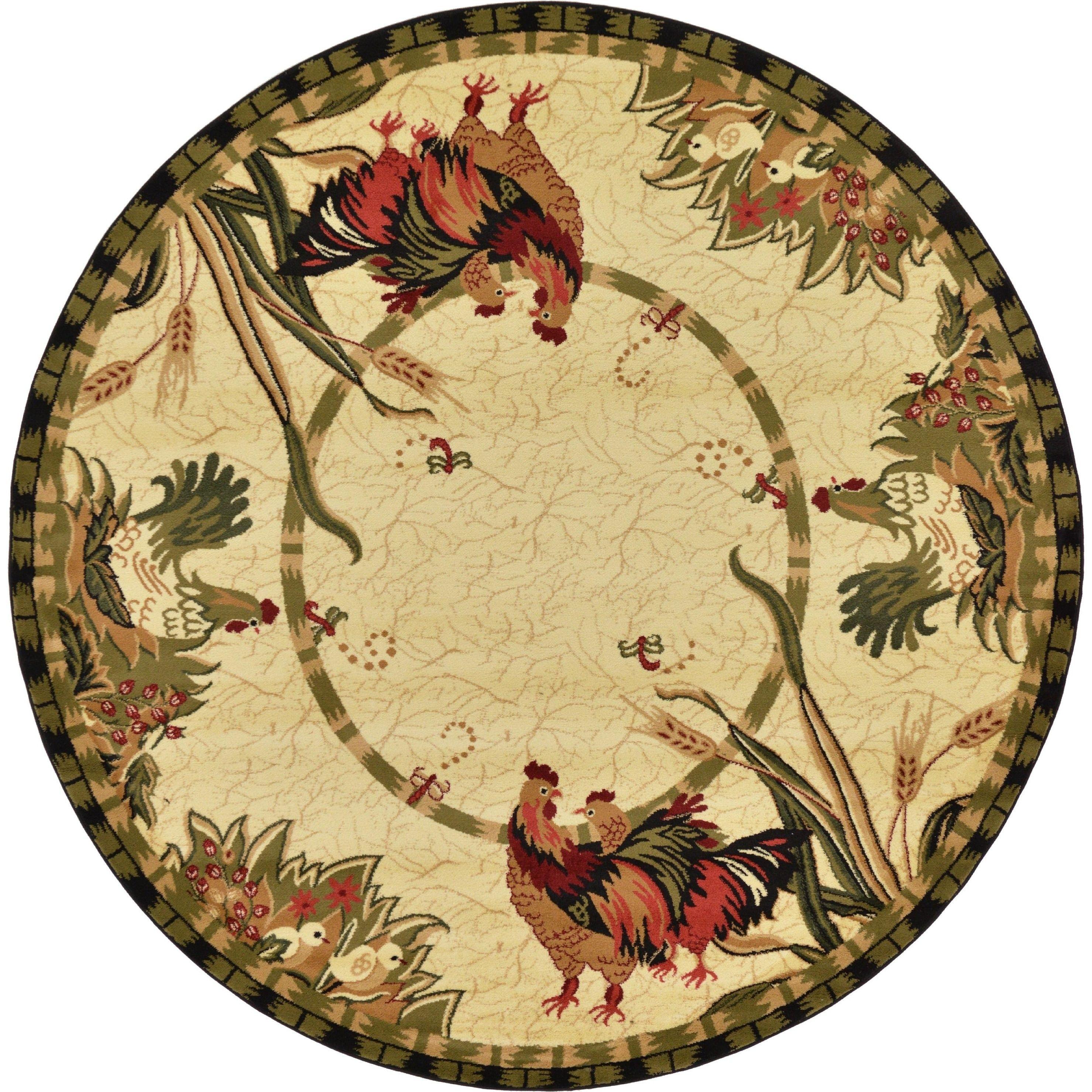 Unique loom country blackgreen floral round rug u cream ivory