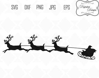 santa sleigh svg reindeer clipart rudolph svg christmas svg rh pinterest com santa sleigh clipart free santa sleigh clipart black and white