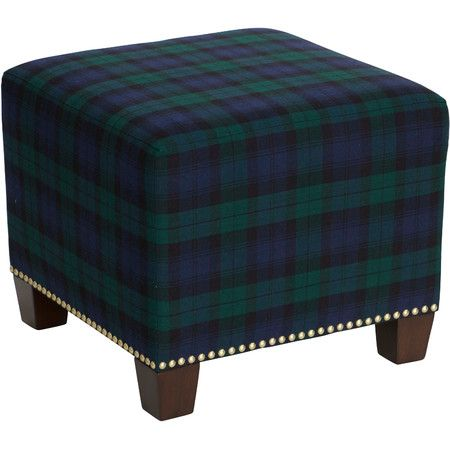 Upholstered In Eye Catching Plaid This Stylish Ottoman