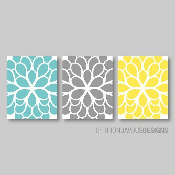 Blue And Yellow Bathroom Decor: Teal Blue Yellow Gray Dahlia Flower Print By