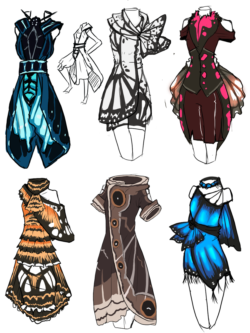 Butterfly And Moth Inspired Dress Illustrations Fairy