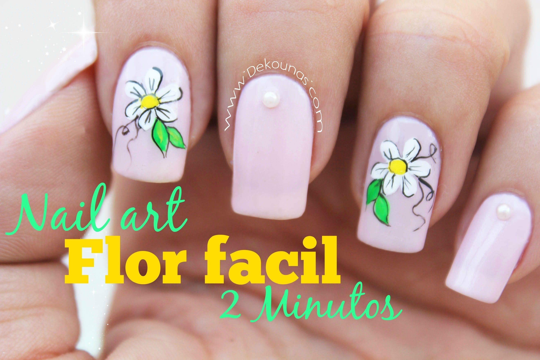 Decoración de uñas flor FACIL - EASY flower nail art | uñas ...