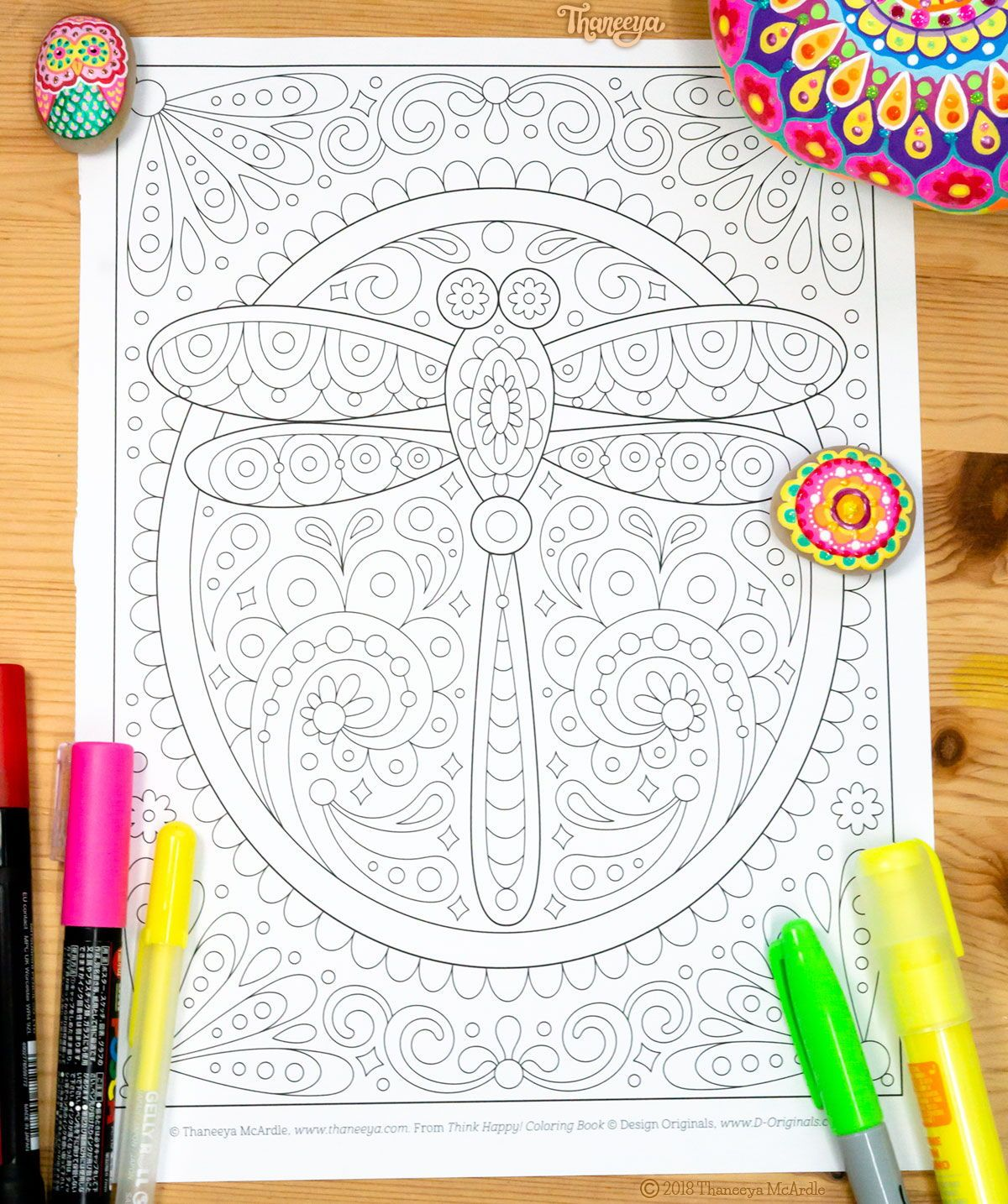 Dragonfly Coloring Page From Thaneeya Mcardle S Think Happy Coloring Book Coloring Books Coloring Pages Free Coloring Pages