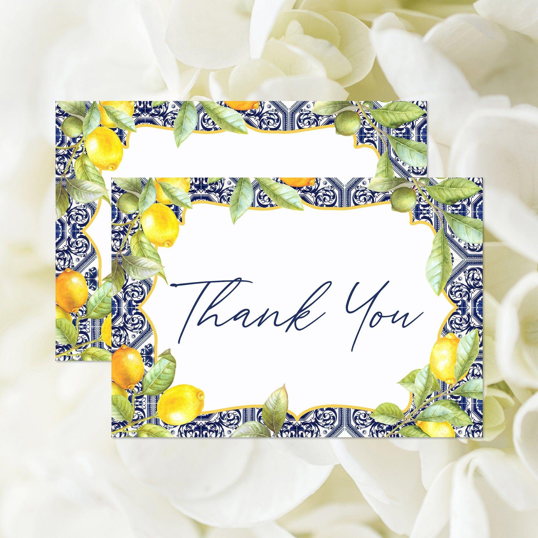 Mediterranean Tile Thank You Card, Printable, Lemon and
