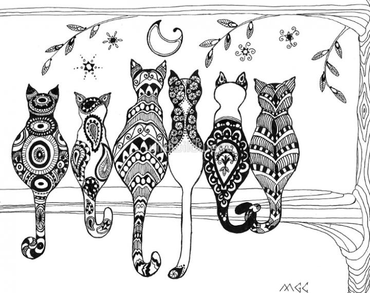 禪繞的貓 Zentangle Cats Zentangle Pinterest Grafika Rysunki I
