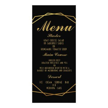 elegant art deco wedding menu template