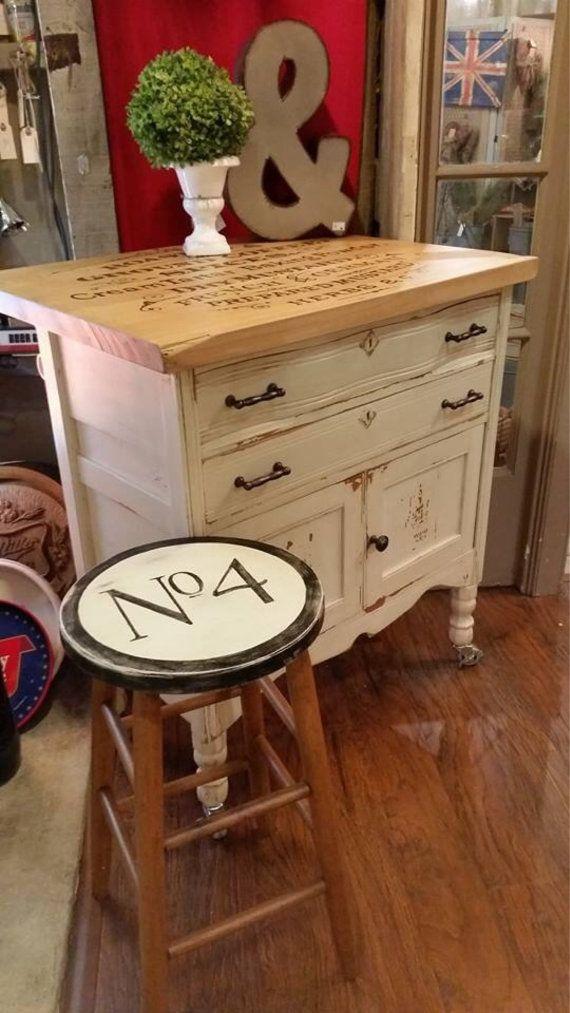 Repurposed Antique Dresser As A Kitchen Island With A: Repurposed Kitchen Island W Butcher Block Top