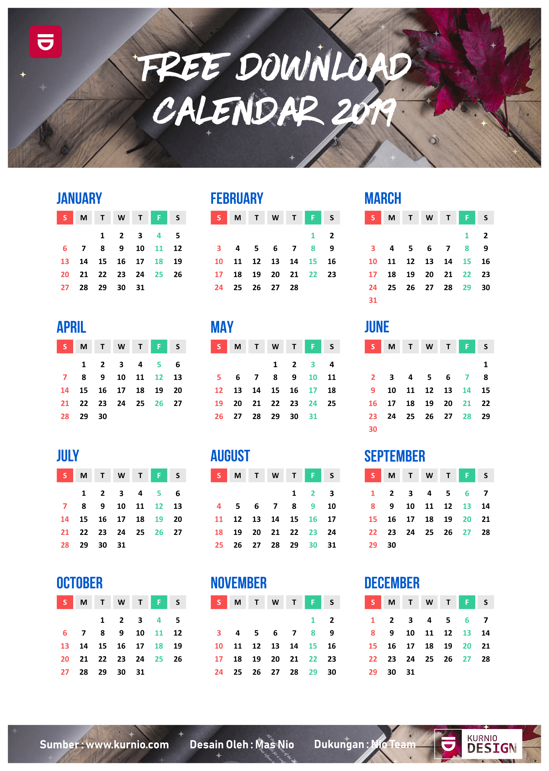 Download Template Calendar 2019 Vector Cdr Ai Psd Download