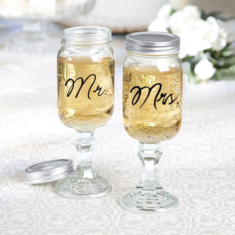 Mr. & Mrs. Glass Mason Jar Goblets | Southern, Jar and Wedding