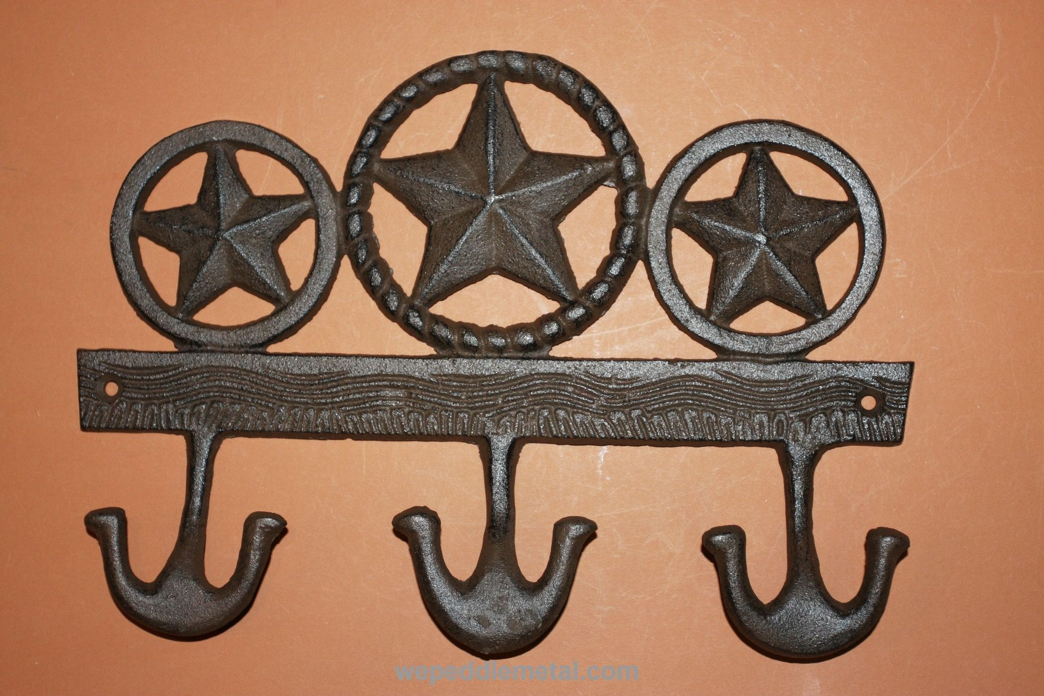 3 ANTIQUE-STYLE CAST IRON COWBOY WESTERN HAT HOOKS wall hardware rustic coat
