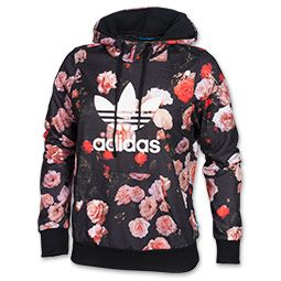 97004bb5968ceb Women's adidas Trefoil Allover Floral Hoodie | FinishLine.com | Black Floral