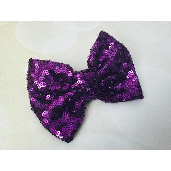 Purple sparkle bow clip