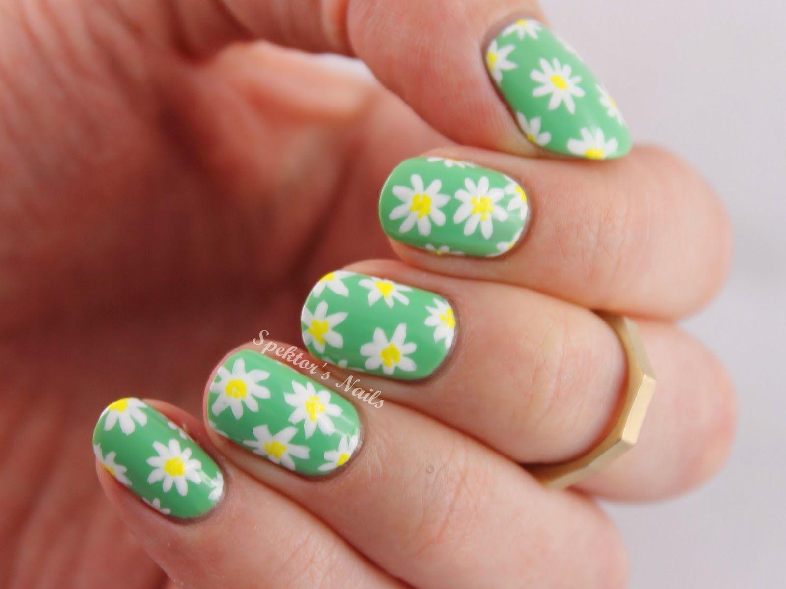 The Lacquer Legion Garden: Daisies Nail Art | Freehand Nail Art ...