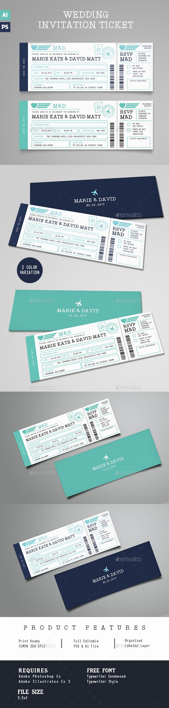 Boarding Pass Wedding Invitation Ticket