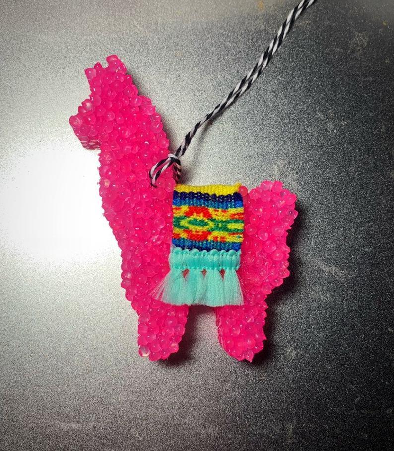 Fancy Llama with Andean Serape blanket Car Air Freshener