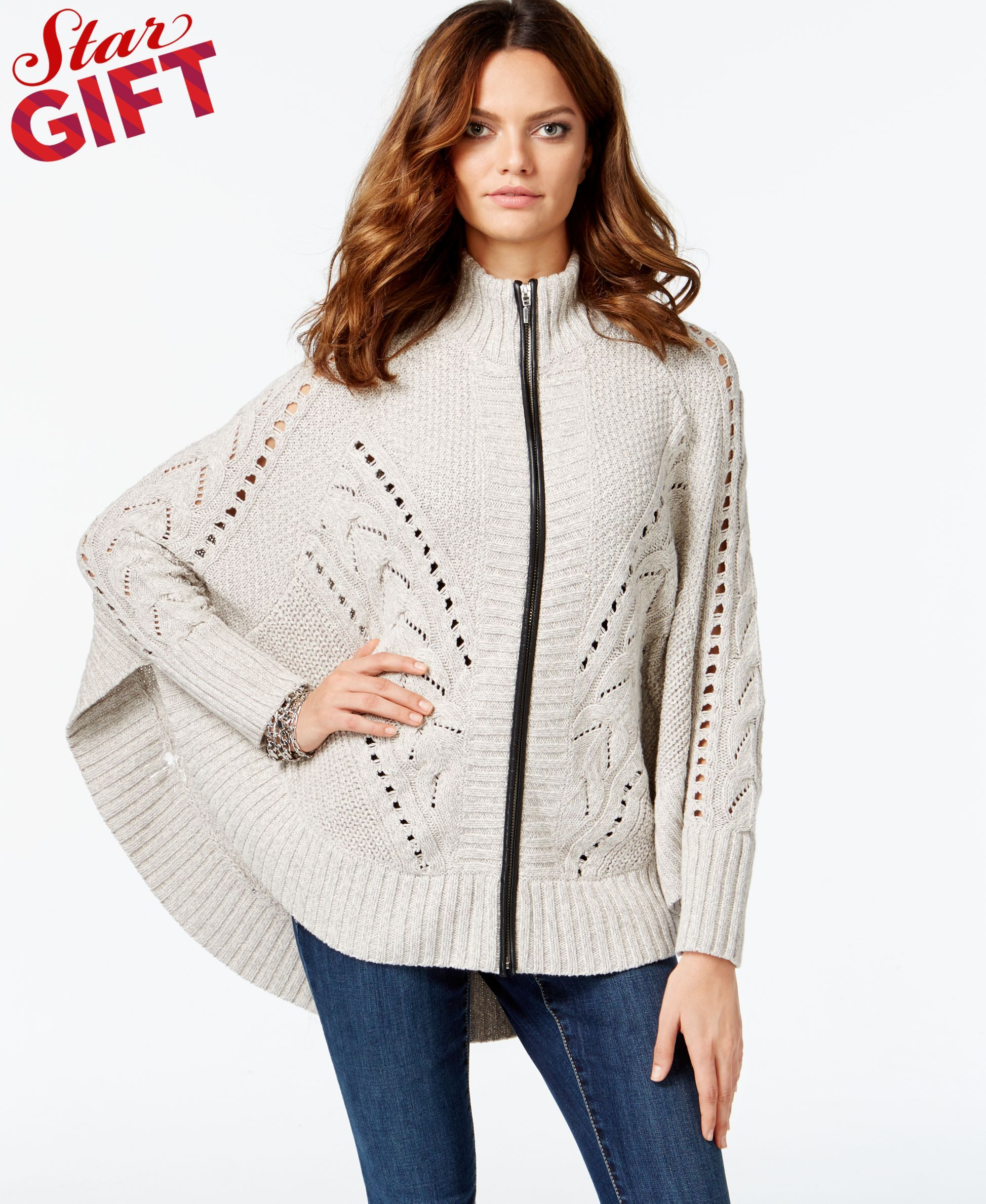 Inc International Concepts Faux-Leather-Trim Cardigan Sweater, Only at Macy's