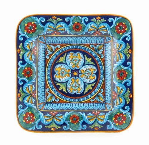 Hand Painted Italian Ceramic 15.7-inch Square Geometric Wall Plate - Handmade in Deruta 15.7 x 15.7 x 2 inches. Handmade in Deruta, Italy. Signed by the artist. Can be mixed and matched with other Geometrico decoration accents. Ships from Italy with fully insured air service. Free shipping over $400. Contact thatsArte for tailormade decoration items.  #EugenioRicciarelli #Home