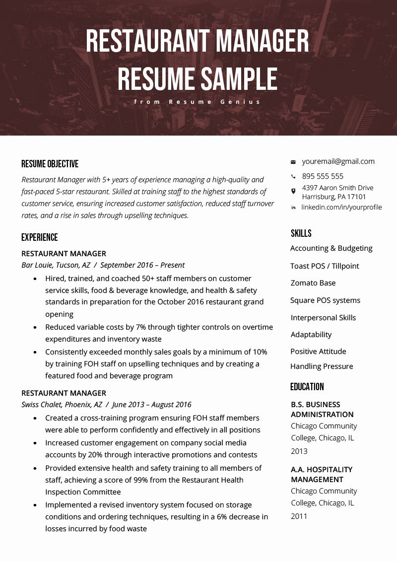 Restaurant Manager Resume Samples Pdf Lovely Restaurant