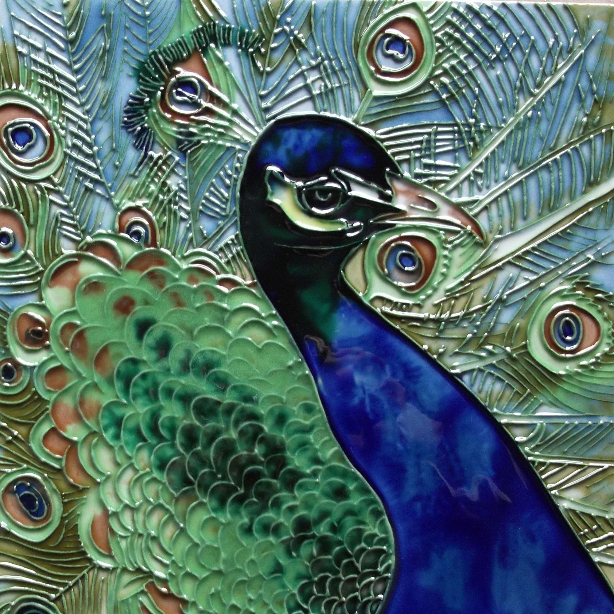 Decorative Tile Wall Art Simple Blue And Green Peacock Tile Wall Decor  Products  Pinterest Decorating Inspiration