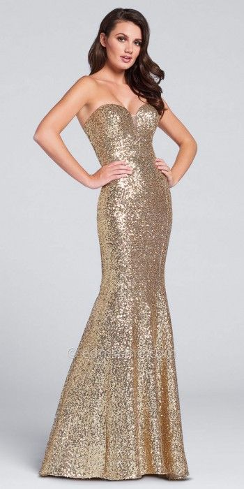 65cacbad4fc Strapless Sequin Mermaid Prom Dress By Ellie Wilde for Mon Cheri. Slip on  this gold dress for a sparkling night!  edressme