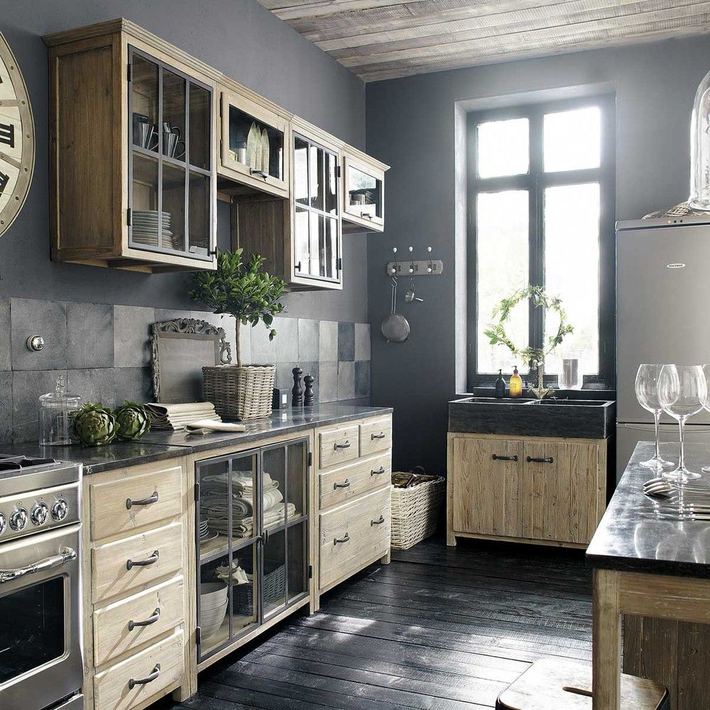 meuble haut vitré de cuisine ouverture droite en pin recyclé l60 cm