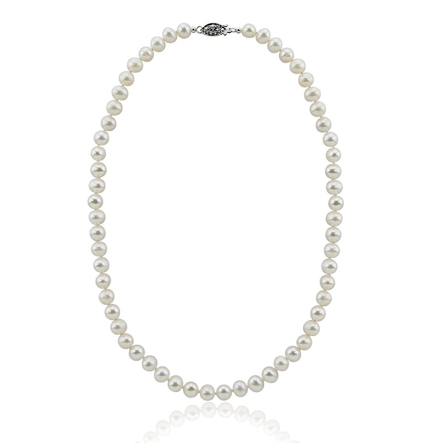"""8-9mm White Freshwater Cultured Pearl Necklace 20"""" Length Princess Length"""