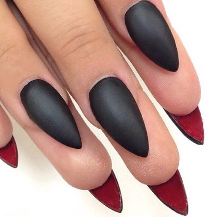 Louboutin themed matte black and red nails. by thenailbarsydney http ...