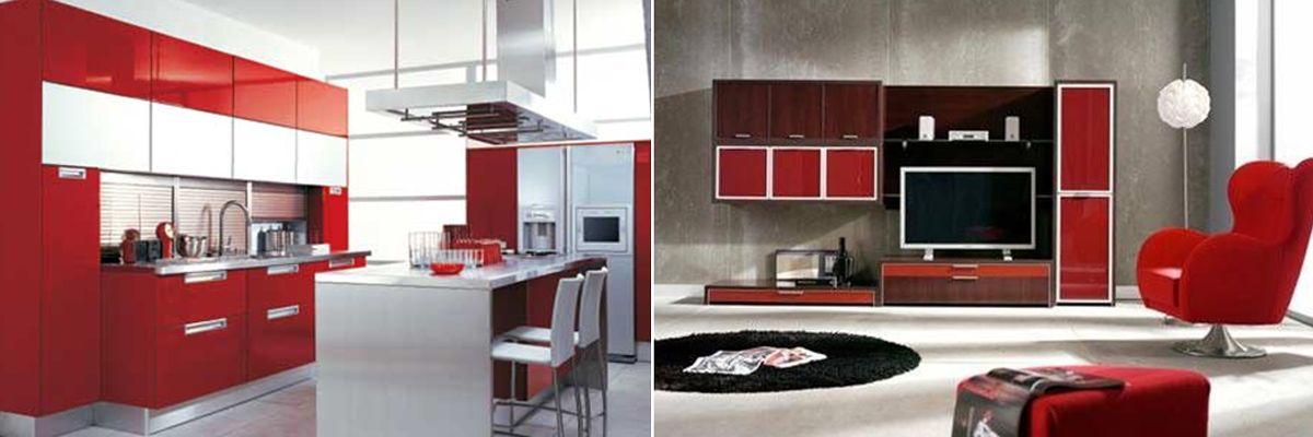 Cocina-Living Decoracion Feng Shui destacando elemento Fuego