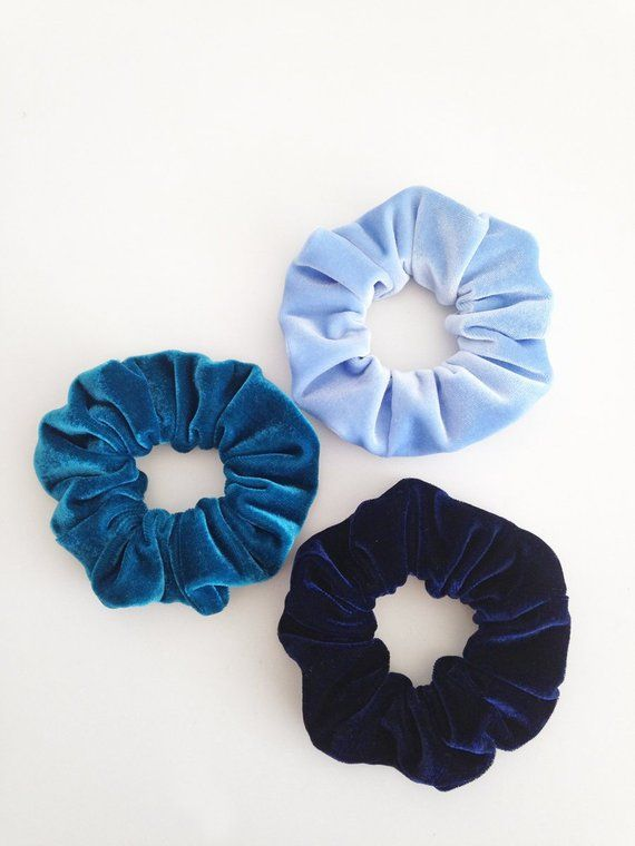 hair scrunchies, velvet scrunchies, velvet scrunchies set, hair accessories, baby blue scrunchie, navy blue velvet scrunchies, gift for her