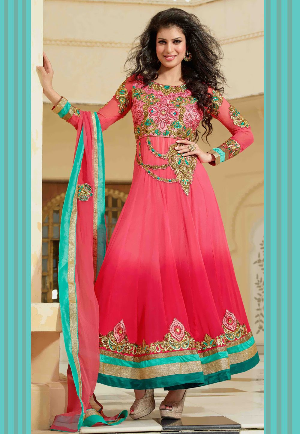 Shaded Pink Faux Georgette Anarkali Churidar Kameez @ $165.72