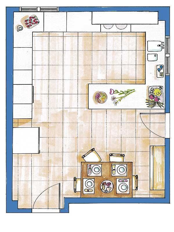 Planos cocina grande buscar con google plan for Planos de cocinas pequenas modernas