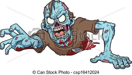 Vector Illustration Of Crawling Zombie Cartoon Crawling Zombie Zombie Drawings Zombie Cartoon Zombie Art