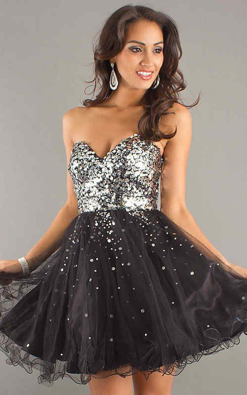 Black Sparkling Strapless Heart Shaped Party Dress Slae [Black ...