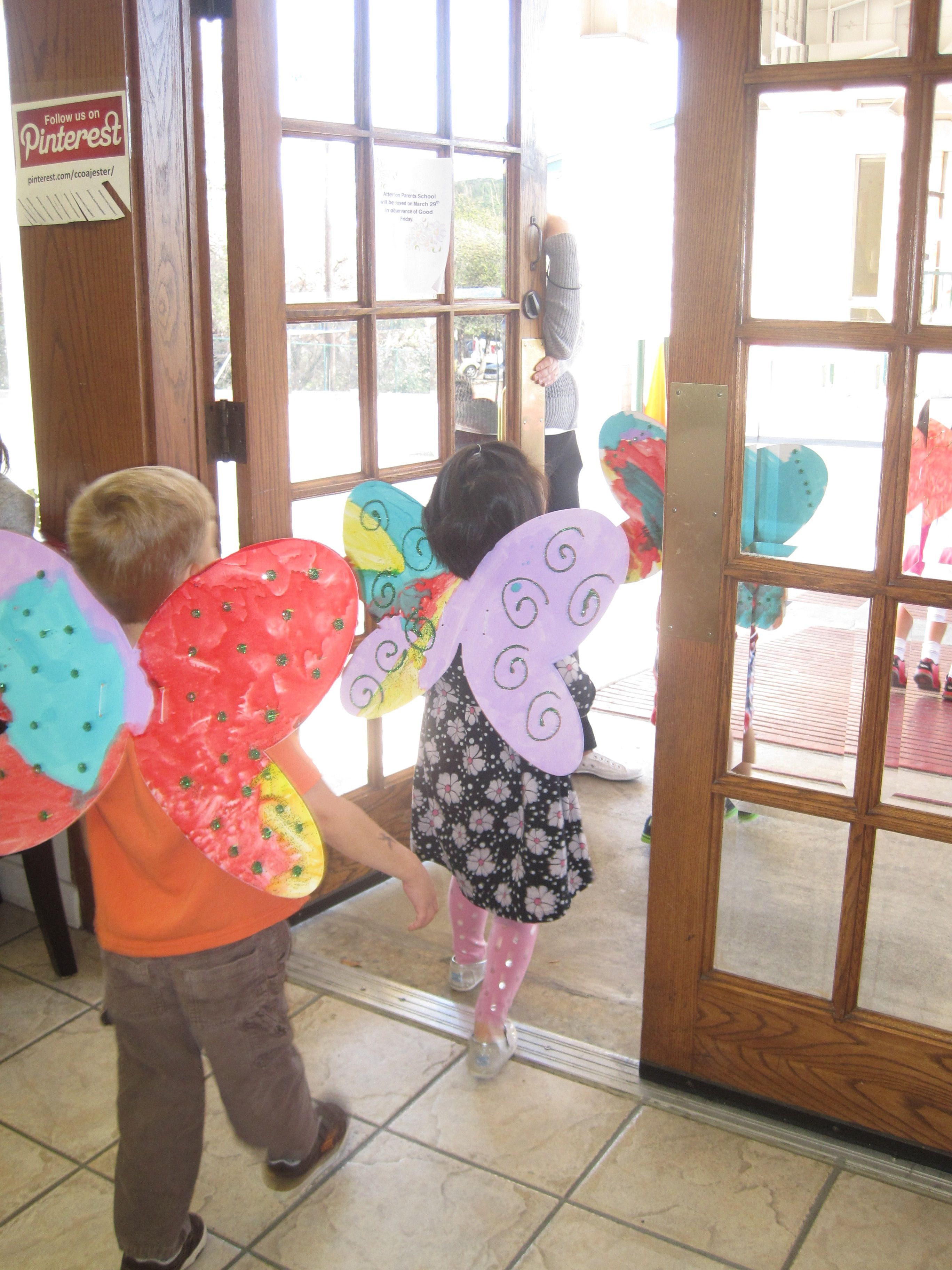 Butterfly Parade Students Decorate Wings In Classroom As An Art Activity