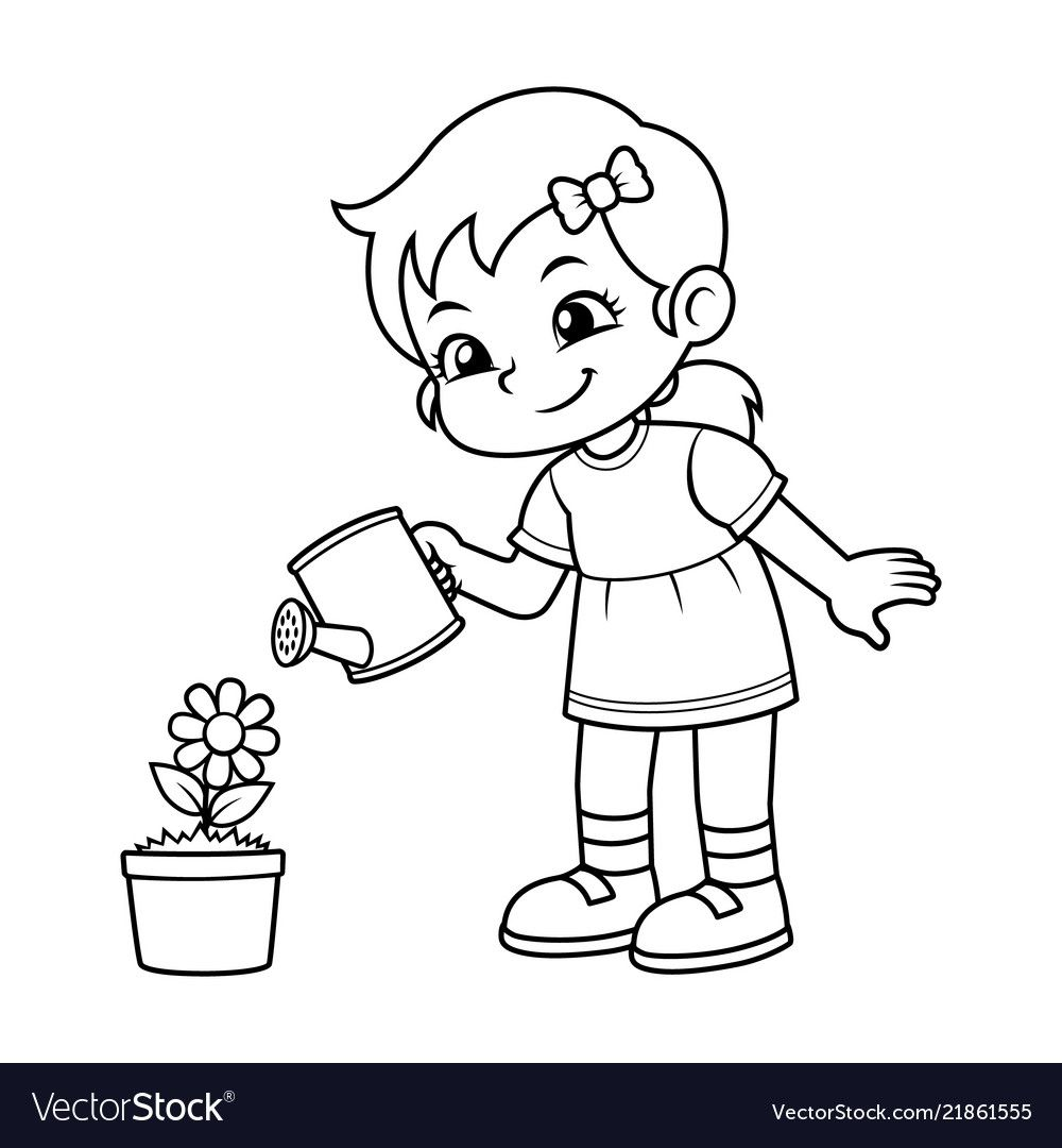 Girl watering her flower plant bw vector image on