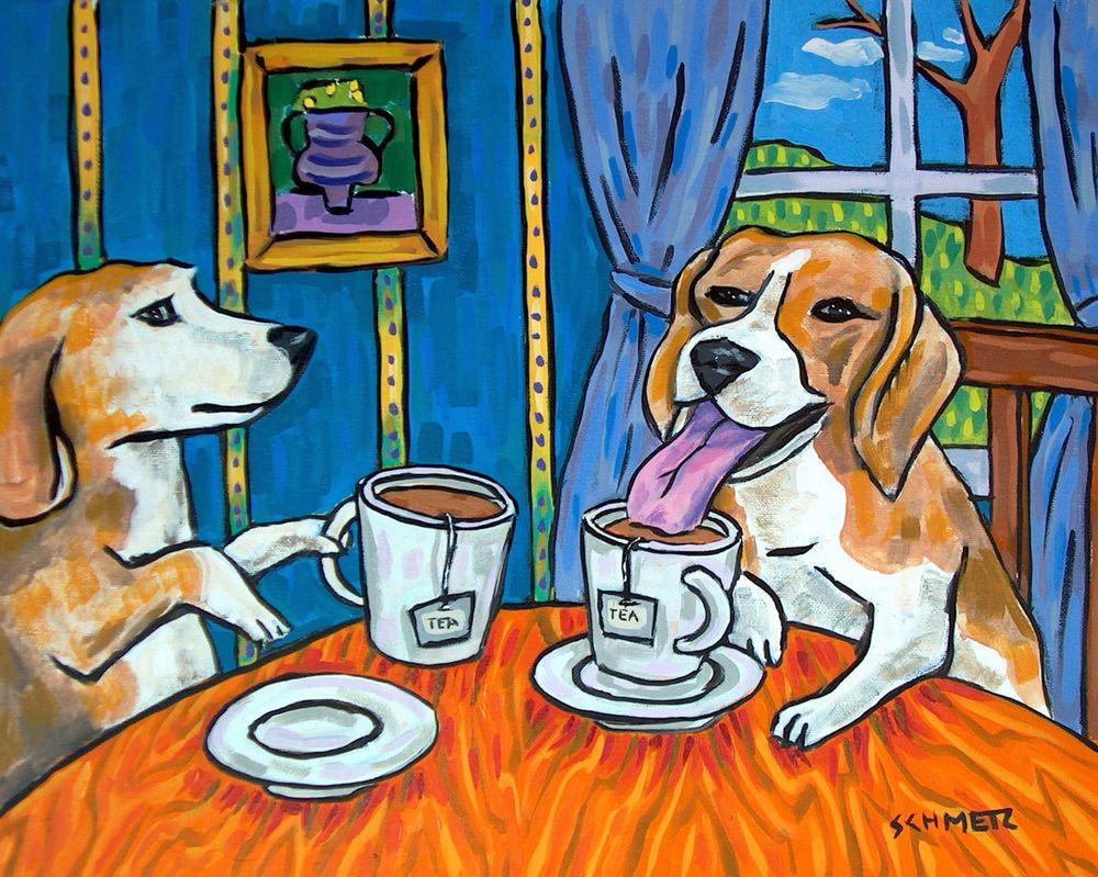 CAT art  artist PRINT 11x14 animals impressionism green tea new gift