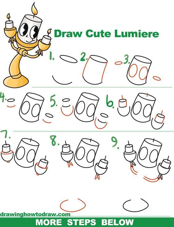 How To Draw Lumiere Cute Kawaii Chibi From Beauty And The Beast