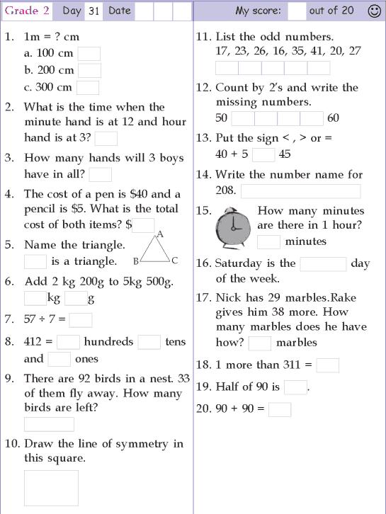 Mental Math Grade 2 Day 31 2nd Grade Math Worksheets, Mental Maths  Worksheets, Mental Math