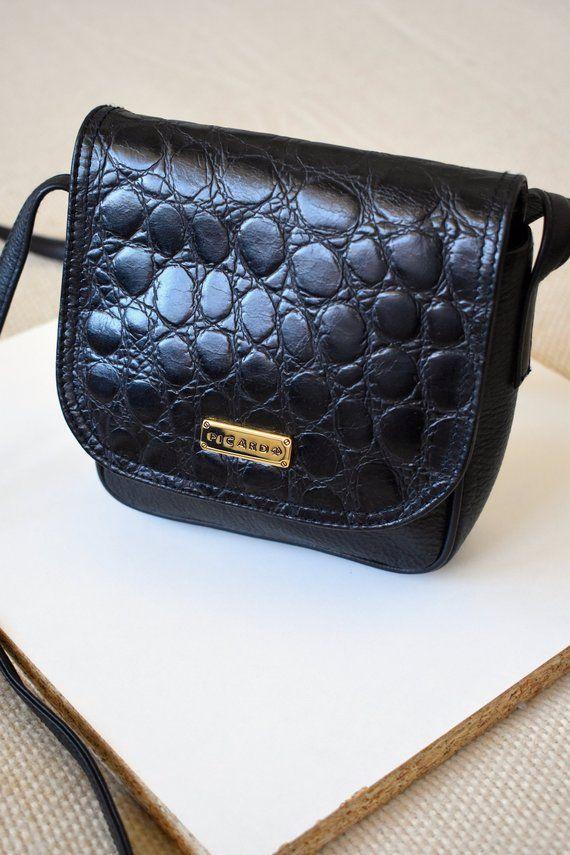d06e160a03 Vintage 90's small black crossbody bag/ Genuine & faux leather ...