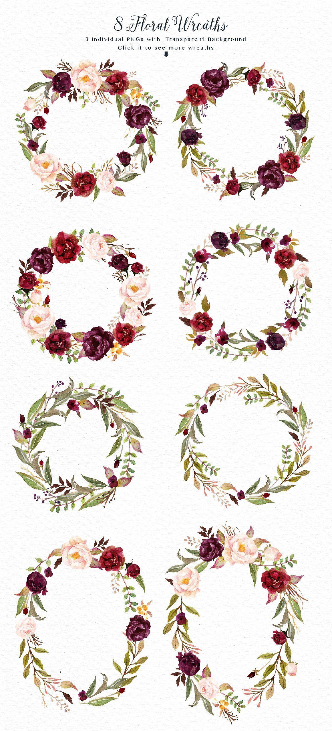 Watercolor flowers png clipart illustrations on creative market - Watercolor Flower Clip Art Marsala By Graphic Box On Creativemarket
